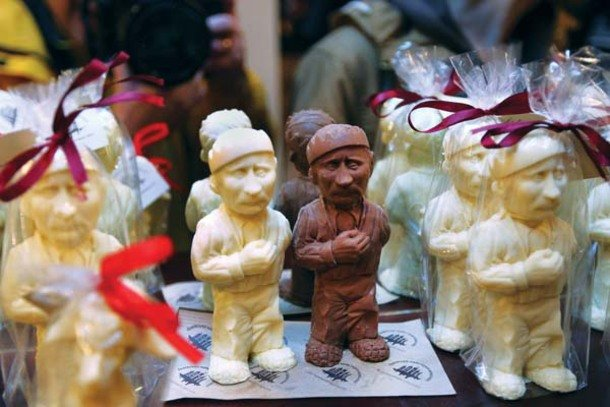 Chocolate figures resembling Russian President Vladimir Putin are displayed in the Lviv Chocolate Factory in Lviv on May 15.