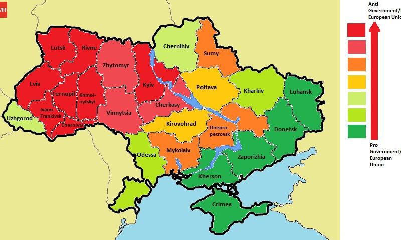 The World Reporter Research Ukraine Political Crisis East Vs - Ukraine political map